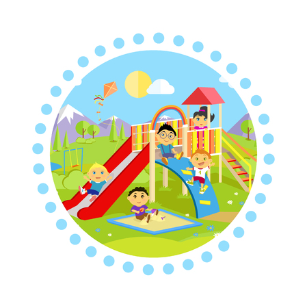childhood: Playground with slide and children. Park play kid, outdoor childhood, equipment and ladder, happiness and recreational, nature and leisure, recreation and summer illustration