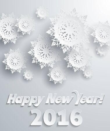 snowflake background: Snowflakes background for winter and New Year, christmas theme. Snow, christmas, snowflake background, snowflake winter. 3D paper snowflakes. Happy New Year 2016. Silver snowflake. Snowflakes shadow Illustration