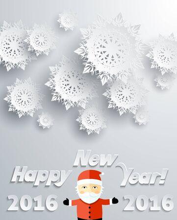 flocon de neige: Flocons de neige fond pour l'hiver et le Nouvel An, le th�me de No�l. Neige, no�l, fond flocon de neige, hiver, flocon de neige. Flocons de neige en papier 3D. Happy New Year flocon 2016. Argent et le P�re No�l