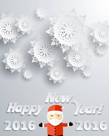 snowflake: Snowflakes background for winter and New Year, christmas theme. Snow, christmas, snowflake background, snowflake winter. 3D paper snowflakes. Happy New Year 2016. Silver snowflake and Santa Claus