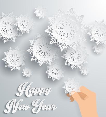 flocon de neige: Flocons de neige fond pour l'hiver et le Nouvel An, le th�me de No�l. Neige, no�l, fond flocon de neige, hiver, flocon de neige. Flocons de neige en papier 3D. Happy New Year 2016. Argent flocon de neige. Les flocons de neige et de la main