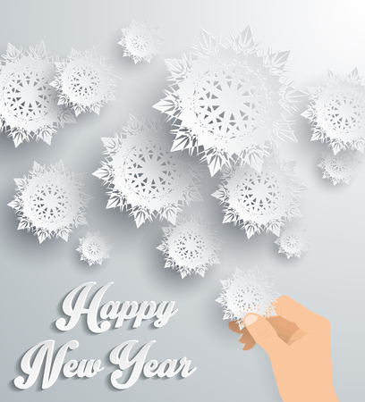snowflake: Snowflakes background for winter and New Year, christmas theme. Snow, christmas, snowflake background, snowflake winter. 3D paper snowflakes. Happy New Year 2016. Silver snowflake. Snowflakes and hand