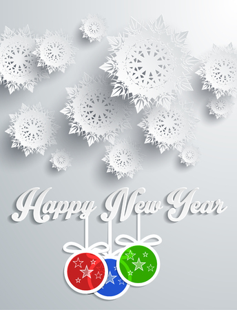 snowflake background: Snowflakes background for winter and New Year, christmas theme. Snow, christmas, snowflake background, snowflake winter. 3D paper snowflakes. Happy New Year. Silver snowflake. Snowflakes and balls