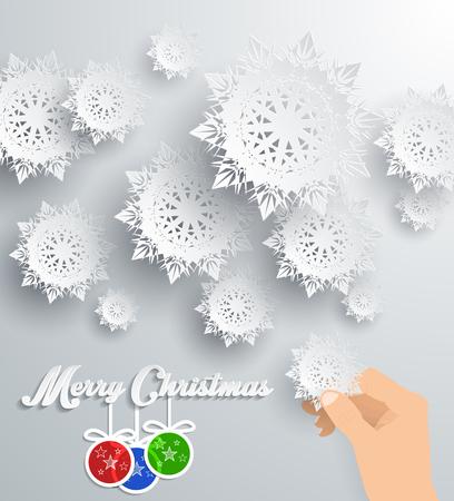 flocon de neige: Flocons de neige fond pour l'hiver et le th�me de Joyeux No�l. Neige, no�l, fond flocon de neige, hiver, flocon de neige. Flocons de neige en papier 3D. Bonne ann�e. Flocon de neige d'argent. Les flocons de neige et des balles Illustration