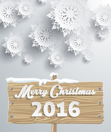 wood backgrounds: Snowflakes background for winter and Merry Christmas theme. Snow, christmas, snowflake background, snowflake winter. 3D paper snowflakes. Merry Christmas 2016 on wooden sign board. Silver snowflake Illustration