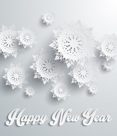 snowflake background: Snowflakes background for winter and New Year, christmas theme. Snow, christmas, snowflake background, snowflake winter. 3D paper snowflakes. Happy New Year. Silver snowflake. Snowflakes shadow Illustration
