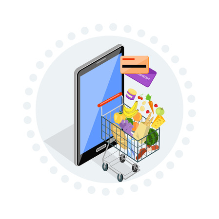 retail: Concept of shopping via internet shop. Online and smartphone, card pay, web sale, e-commerce and foodstuffs, business technology, convenience and mobile illustration. Trolley with food. Online order