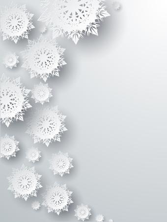 Sněhové vločky pozadí pro zimní a na Nový rok, vánoční motiv. Sníh, Vánoce, sněhová vločka pozadí, vločka zimní. 3D papírové sněhové vločky. Stříbrný sněhová vločka. Sněhové vločky stín. Místo pro text