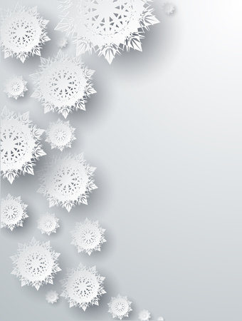 Snowflakes background for winter and New Year, christmas theme. Snow, christmas, snowflake background, snowflake winter. 3D paper snowflakes. Silver snowflake. Snowflakes shadow. Place for text