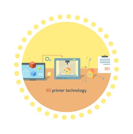 prototype: 3D printer technology icon flat design. Future manufacturing, innovation prototype machine, product print on computer, process tech printing model, smart engineering illustration Illustration
