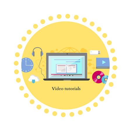 training: Video tutorial icon flat design style. Online education, information web from laptop, study internet, e-learning and knowledge, webinar and training, communication learning illustration