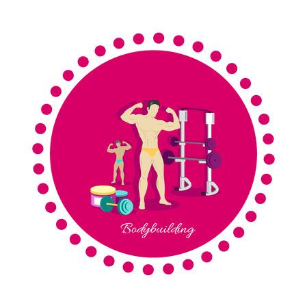 musculo: Deporte Culturismo icono concepto de diseño plano. Fitness y gimnasio, peso y músculo, bodybuilder carrocería, una fuerte capacidad de potencia atlética, la formación y la pesa de gimnasia, atleta healthy Vectores