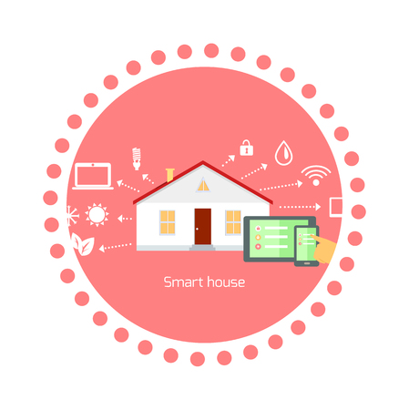 energy management: Smart house concept icon flat design. Home technology, digital security, communication system, automation and control, energy and light, building and power illustration Illustration