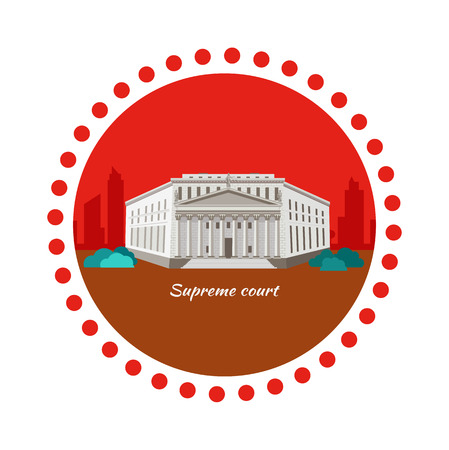 tribunal supremo: Supreme court concept icon flat design. Justice and law, legal decision, legislation equality, building government, courthouse and equilibrium, facade and authority house with column illustration Vectores