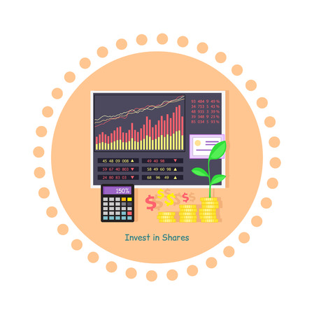 share prices: Invest in shares concept icon flat design. Investment in business, money and finance, data chart, graph financial, market infographic, information and profit, economic accounting illustration