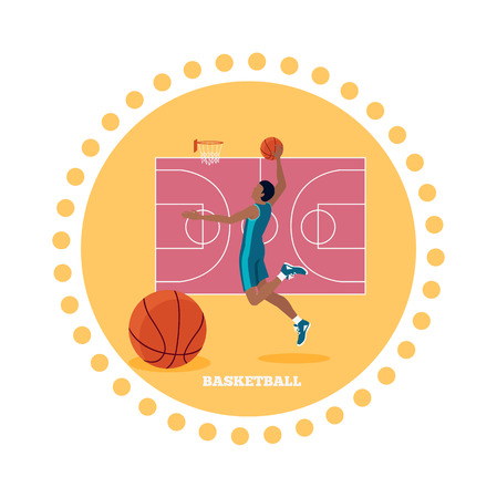 team game: Basketball sport team concept icon flat design. Ball and game, competition play, activity recreation, championship and basket, leisure and tournament, training athletic illustration