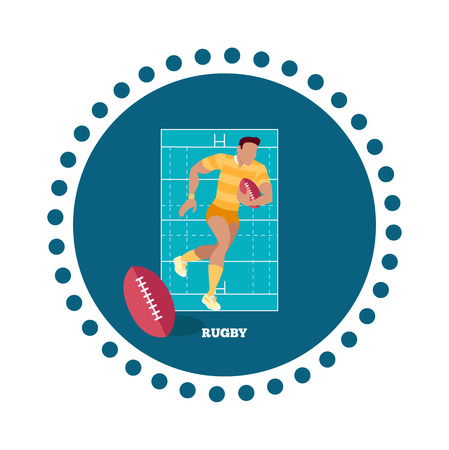 team game: Rugby sport concept icon flat design. Game american, team and equipment, competition and recreation, play and champion, tournament or championship, winner athletic illustration