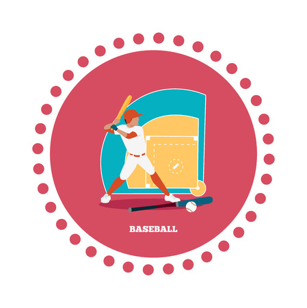 team game: Baseball sport concept icon flat design. Ball and competition, game american, bat play, activity leisure and recreation, athletic training, championship player, tournament team, athlete illustration Illustration