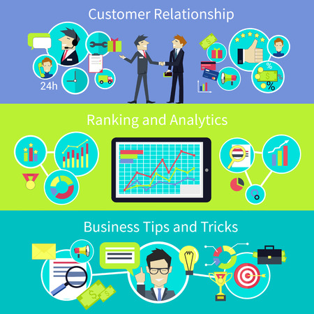 Business customer relationship. Tips and trips. Crm, management and communication, strategy success, people professional, support manager businessman, client person, analysis and consultant illustration