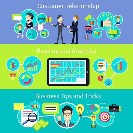 Vztah obchodní zákazníky. Tipy a výlety. CRM, řízení a komunikace, strategie úspěšnosti, lidé profesionální, podpora manažer podnikatel, klientem osoba, analýzu a poradce ilustrační Ilustrace