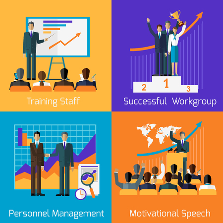Business training set. Succefull motivational managment. Workgroup personnel speech motivation, success leadership, strategy education, goal and learn knowledge, career illustration Vetores