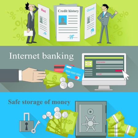 インターネットの銀行業および保管お金。歴史を善と悪、ビジネス金融銀行、現金、ローン、経済通貨ドル予算イラストをクレジットします。