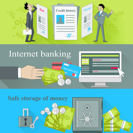 safe: Internet banking and safe storage money. Credit history, good and bad, business financial bank, cash and loan, economy currency, dollar budget illustration