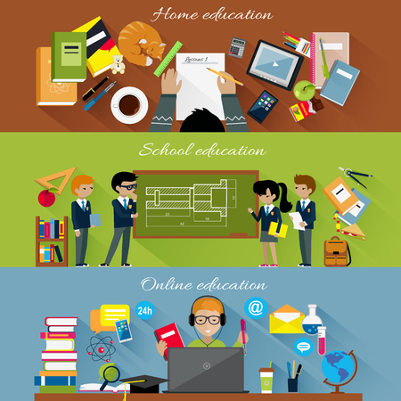 Home school and online education concept. Internet technology, computer e-learning, studying student, learning in university, knowledge and book, distance web study college illustration  イラスト・ベクター素材