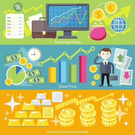 stock price: Concept exchange rates flat design style. Finance business, currency and investment, money banking, dollar coin, economy and bank, stock financial, trade market, gold and silver illustration Illustration