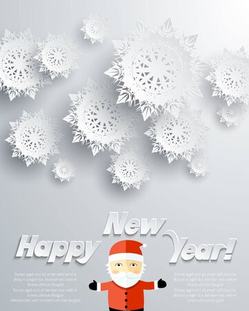father frost: Happy New Year Santa Claus snowflakes background. Christmas father, frost snowflake, holiday celebration, greeting merry card, banner celebrate illustration