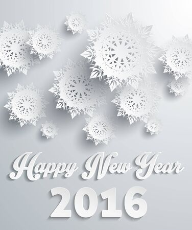 winter holidays: Happy New Year 2016 snowflakes background. Holiday celebration, greeting banner, season celebrate, fantasy pattern snow, festive and text, letter traditional illustration