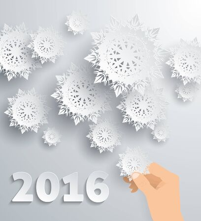greeting season: Snowflake background New Year 2016. Xmas and christmas, hand and holiday celebration, greeting merry and happy, season celebrate, traditional illustration