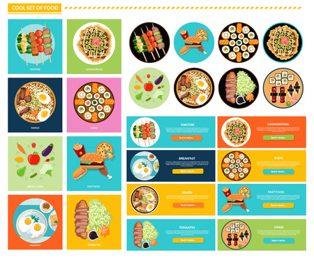 dinner: Set of different tasty dishes flat. Yakitori and okonomiyaki, sushi and unagi, ramen and tonkatsu, health and fast food, menu and kitchen illustration. Set of food banners