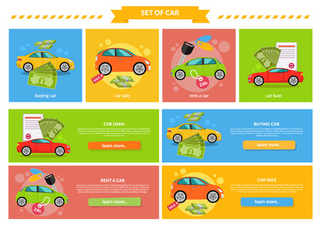 Buying selling rental car. Buy transport, auto rent, sale and loan, automobile and vehicle, purchase and deal, credit and pay, offer and money illustration. Buying car, car sale, rent a car, car loan Illustration