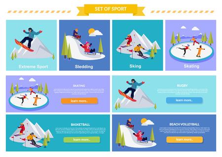 Aktiver Winterurlaub Extremsportarten. Rodeln und sking, Skaten und Berg, Schnee und Erholung, reisen im Freien, Kälte und Feiertag, Snowboarder Sportler. Extremsport, Rodeln, sking, Schlittschuhlaufen Vektorgrafik