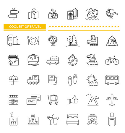 illustration journey: Set of line icon concept travel. Transportation and holiday, trip and plane, train and location, car and airplane, bus and ship, luggage and vacation, journey and camera, globe map illustration