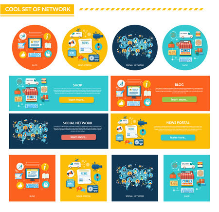 medios de comunicación social: Conjunto de concepto de red de diseño plano. Tienda y blog, portal social y noticias, la tecnología de Internet, negocio en la Web, medios de comunicación, redes y aplicaciones online, marketing de servicios ilustración de la bandera Vectores