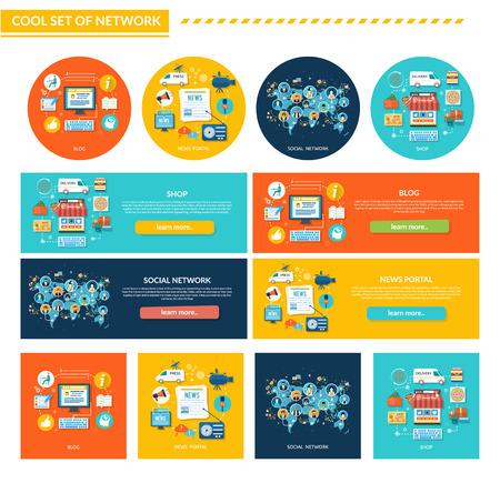 Set of network concept flat design. Shop and blog, social and news portal, internet technology, web business, communication media, networking and online app, marketing service banner illustration Illustration