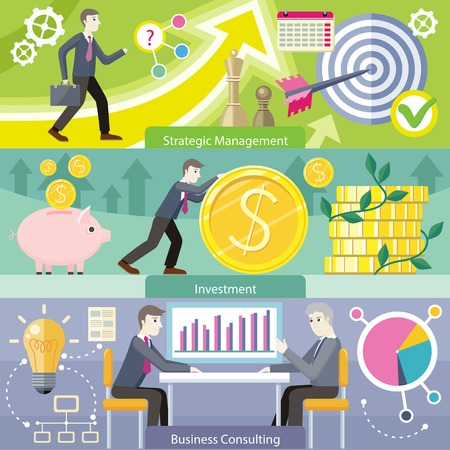 managment: Business consulting investment strategic managment. Marketing idea, service finance, financial banner, strategy planning, analytics and brainstorming, solution and growth illustration