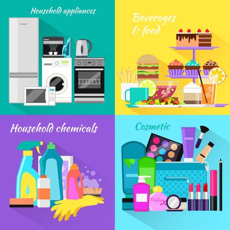 productos quimicos: bebidas domésticos de alimentos y cosméticos. Appliance y maquillaje de moda, lápiz labial y el cepillo, polvo y cuidado, detergentes y rímel, producto de la botella, la bebida y el equipo de cocina ilustración Vectores