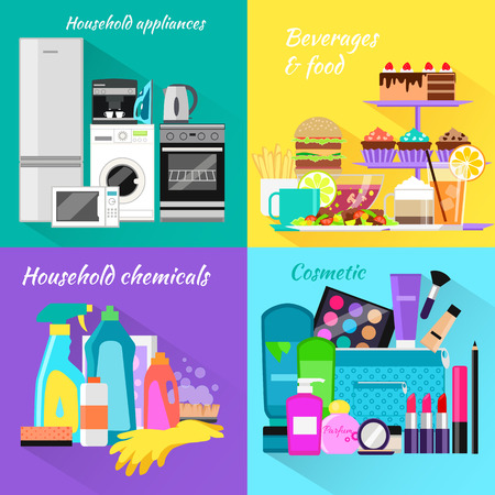 Household beverages food and cosmetic. Appliance and makeup fashion, lipstick and brush, powder and care, detergents and mascara, bottle product, drink and kitchen equipment illustration