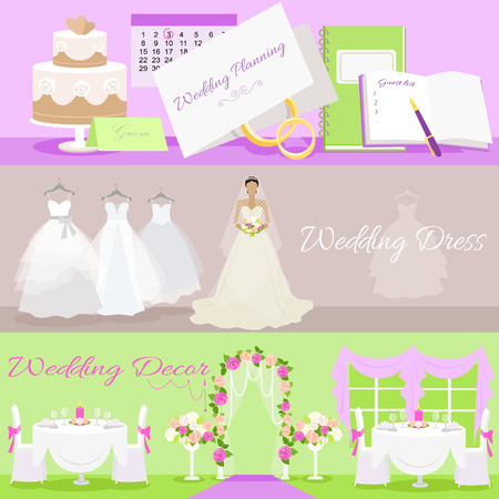 holiday tradition: Wedding planning dress and decor concept set. Event decoration, holiday and plan, tradition and fashionable, white clothes, clothing fashion, celebration invitation illustration