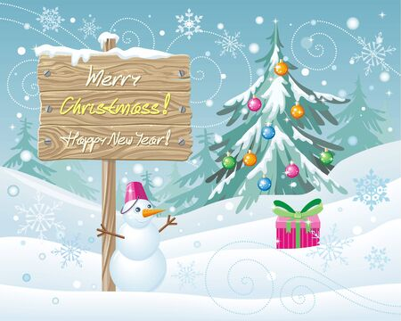 vector wooden sign merry christmas and happy new year xmas celebration winter season greeting message board and snowflake snow and landscape - Merry Christmas Wooden Sign