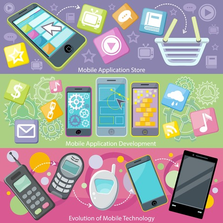 electronics icons: Mobile application store and development. Evolution technology phone, communication digital app, smart device, tablet and software, screen smartphone illustration