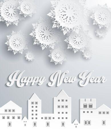 tr�sten: Happy new year snow Stadt-Design. Schneeflocke und Feiertag, Komfort feier, gru� fr�hlich Dezember, feiern Saison und festlich, heimelige Stadt, Geb�ude dekorative Illustration