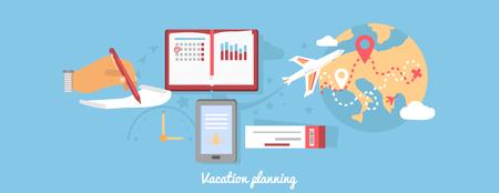 ricreazione: Vacanze pianificazione icona piatto rotondo isolato. estate turismo, vacanze e mappa, volo biglietti, viaggio mondo, viaggio e tempo libero tour, il trasporto e l'illustrazione per il tempo libero
