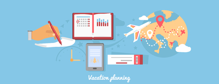 flight: Vacation planning icon flat isolated round. Tourism summer, holiday and map, ticket flight, trip world, voyage and recreation tour, transportation and leisure illustration Illustration