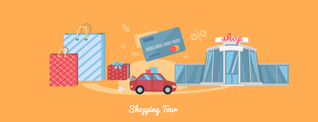 shopping mall: Best shopping tour car with paper bags. Shopping bag, shopping mall, store, shopping cart, shopping icon, sale, fashion. Concept in flat design