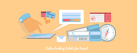 reservation: Flat design style modern planning a summer vacation, online booking a ticket on a trip, flying a plane to travel destination. Online ticket reservation and booking accommodation. Buy ticket online