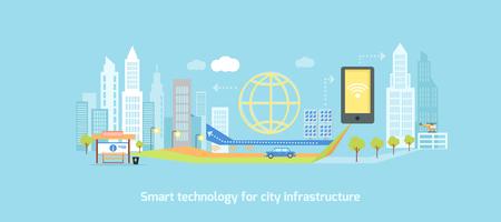 スマート技術都市のインフラストラクチャ。アイコンとネットワーク システム、コミュニケーション革新町、接続、未来、制御情報、インターネッ  イラスト・ベクター素材